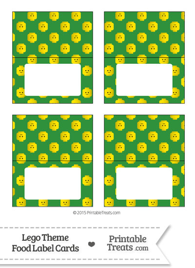 Green Lego Theme Food Label Buffet Cards from PrintableTreats.com