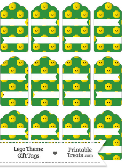 Green Lego Theme Gift Tags from PrintableTreats.com