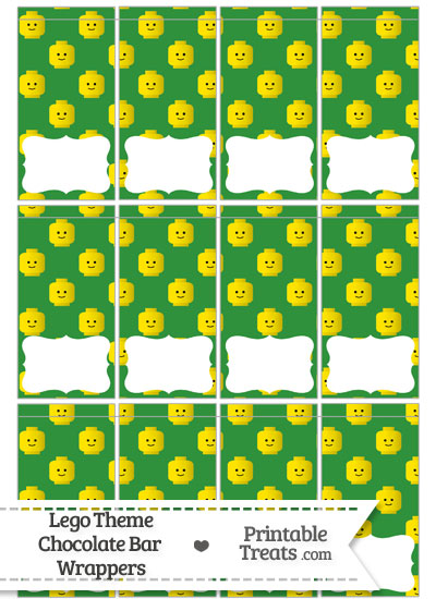 Green Lego Theme Mini Chocolate Bar Wrappers from PrintableTreats.com