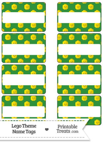 Green Lego Theme Name Tags from PrintableTreats.com
