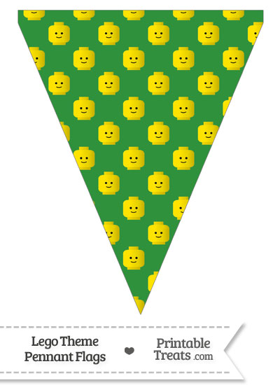 Green Lego Theme Pennant Banner Flag from PrintableTreats.com