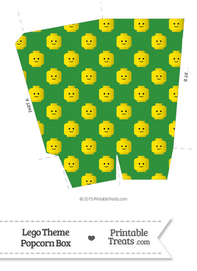 Green Lego Theme Popcorn Box from PrintableTreats.com