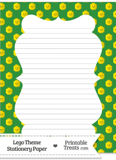 Green Lego Theme Stationery Paper from PrintableTreats.com