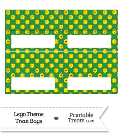Green Lego Theme Treat Bag Toppers from PrintableTreats.com