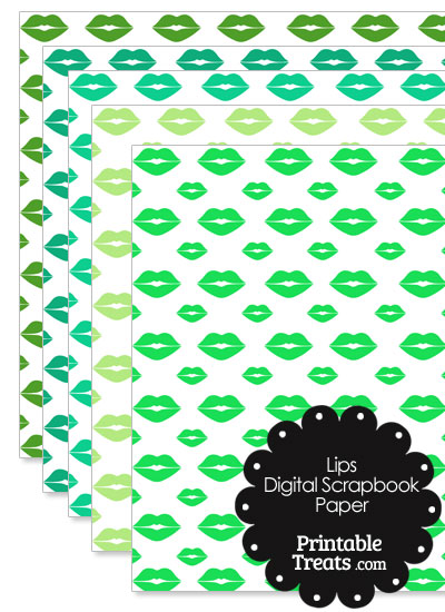 Green Lips Digital Scrapbook Paper from PrintableTreats.com