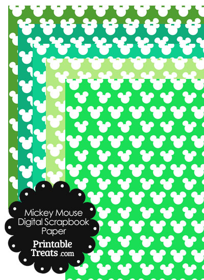 Green Mickey Mouse Head Digital Paper from PrintableTreats.com