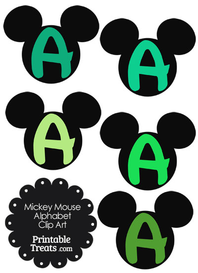 Green Mickey Mouse Head Letter A Clipart from PrintableTreats.com