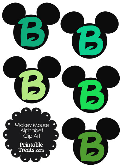 Green Mickey Mouse Head Letter B Clipart from PrintableTreats.com
