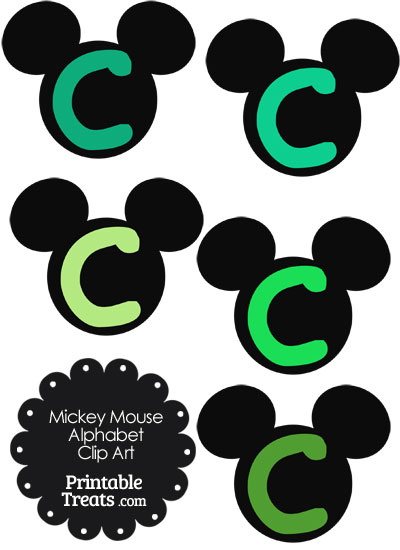 Green Mickey Mouse Head Letter C Clipart from PrintableTreats.com