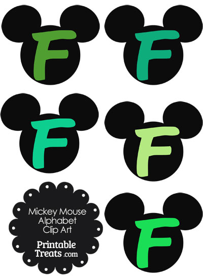 Green Mickey Mouse Head Letter F Clipart from PrintableTreats.com