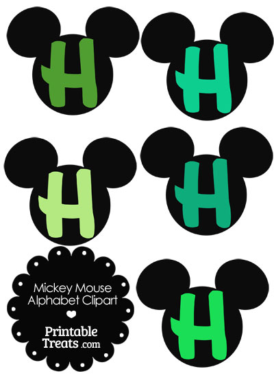 Green Mickey Mouse Head Letter H Clipart from PrintableTreats.com