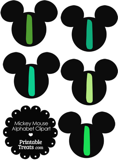 Green Mickey Mouse Head Letter I Clipart from PrintableTreats.com