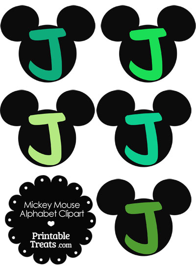 Green Mickey Mouse Head Letter J Clipart from PrintableTreats.com