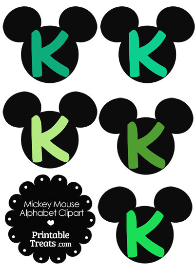 Green Mickey Mouse Head Letter K Clipart from PrintableTreats.com