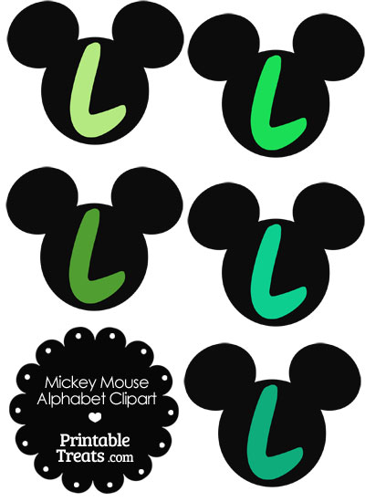 Green Mickey Mouse Head Letter L Clipart from PrintableTreats.com
