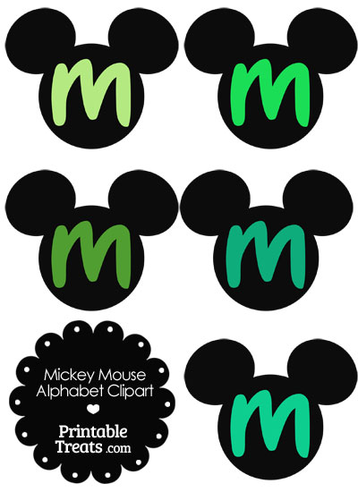 Green Mickey Mouse Head Letter M Clipart from PrintableTreats.com