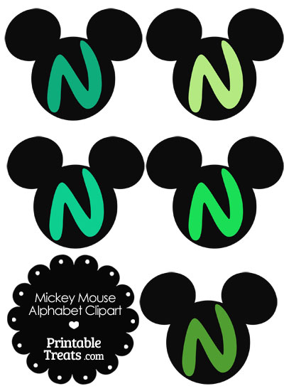 Green Mickey Mouse Head Letter N Clipart from PrintableTreats.com