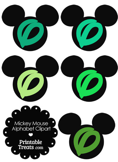 Green Mickey Mouse Head Letter O Clipart from PrintableTreats.com