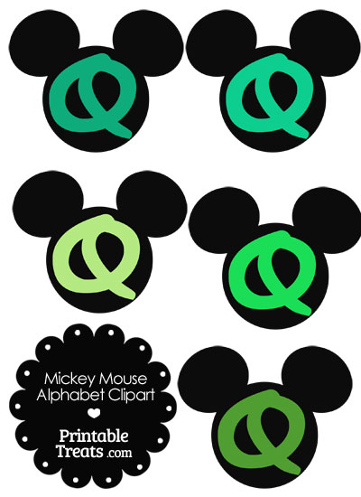 Green Mickey Mouse Head Letter Q Clipart from PrintableTreats.com