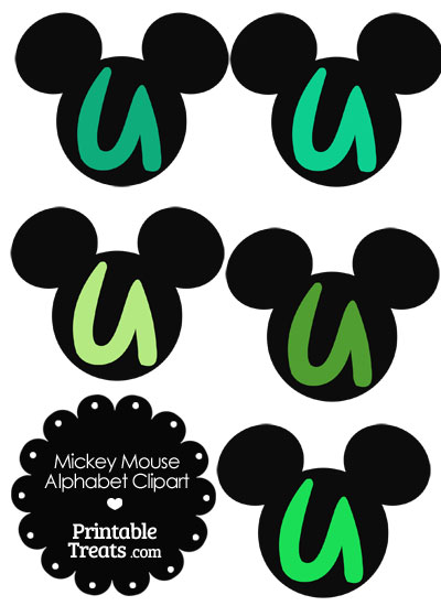 Green Mickey Mouse Head Letter U Clipart from PrintableTreats.com
