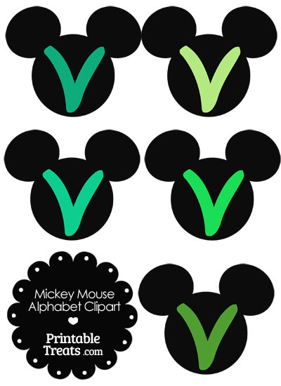 Green Mickey Mouse Head Letter V Clipart from PrintableTreats.com