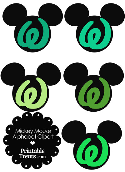 Green Mickey Mouse Head Letter W Clipart from PrintableTreats.com