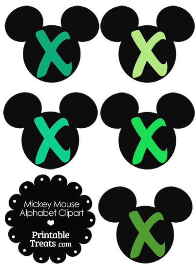 Green Mickey Mouse Head Letter X Clipart from PrintableTreats.com