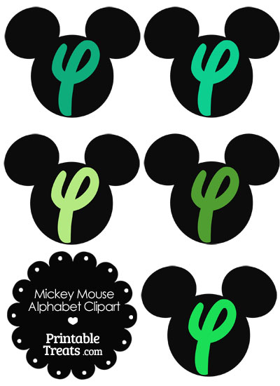 Green Mickey Mouse Head Letter Y Clipart from PrintableTreats.com