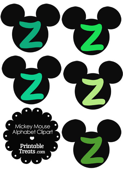 Green Mickey Mouse Head Letter Z Clipart from PrintableTreats.com
