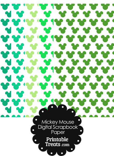 Green Mickey Mouse Head Scrapbook Paper from PrintableTreats.com