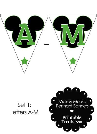 Green Mickey Mouse Pennant Banner Letters A-M from PrintableTreats.com