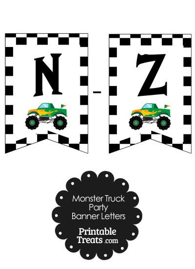 Green Monster Truck Banner Letters N-Z from PrintableTreats.com