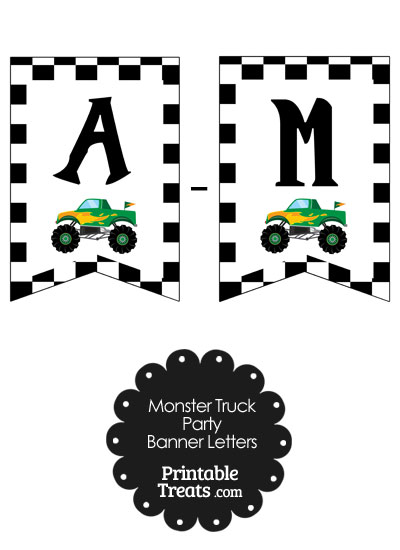 Green Monster Truck Birthday Bunting Banner Letters A-M from PrintableTreats.com