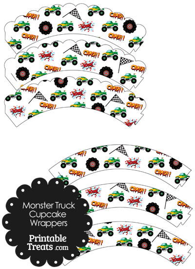 Printable Green Monster Truck Cupcake Wrappers from PrintableTreats.com