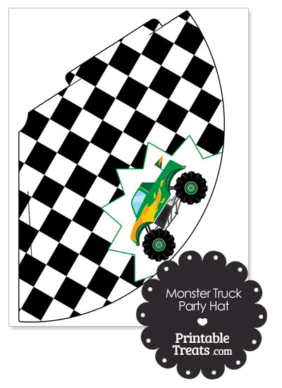 Green Monster Truck Party Hat by PrintableTreats.com