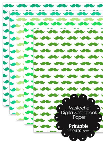 Green Mustache Digital Scrapbook Paper from PrintableTreats.com