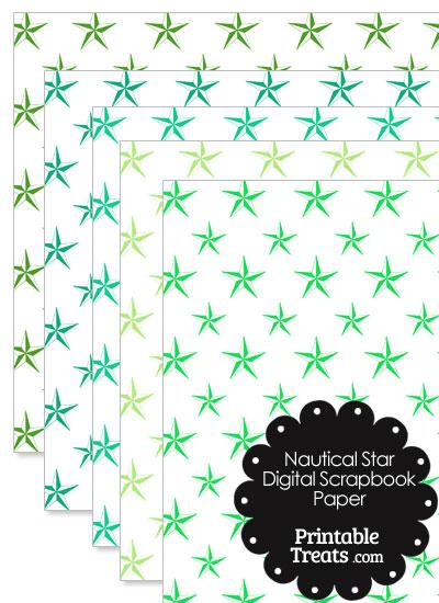 Green Nautical Star Digital Scrapbook Paper from PrintableTreats.com