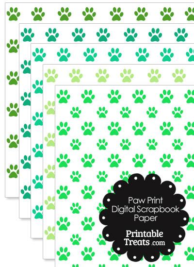 Green Paw Print Digital Scrapbook Paper from PrintableTreats.com