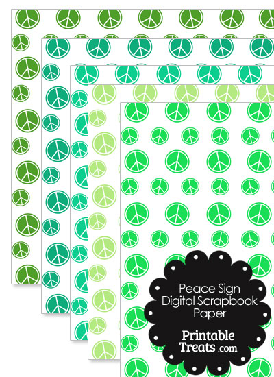 Green Peace Sign Digital Scrapbook Paper from PrintableTreats.com