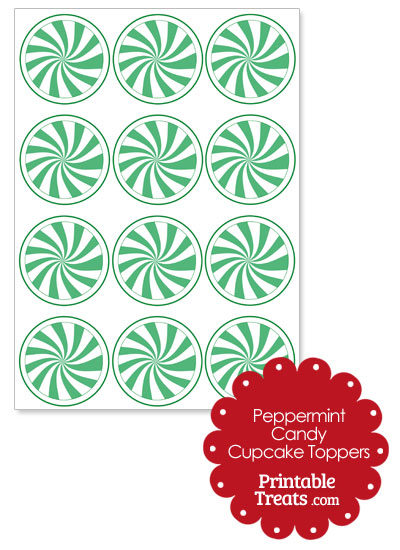 Green Peppermint Candy Cupcake Toppers from PrintableTreats.com