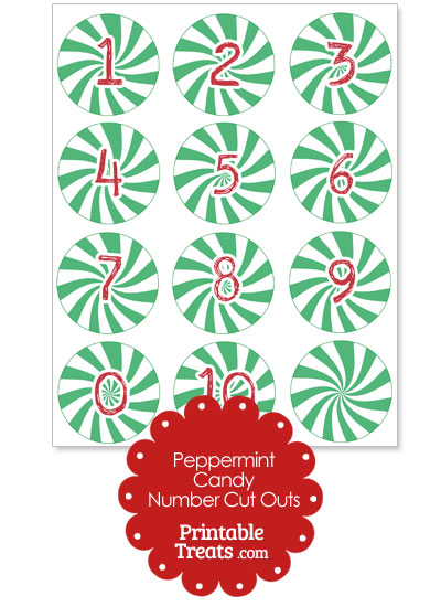 Green Peppermint Candy Number Cut Outs from PrintableTreats.com