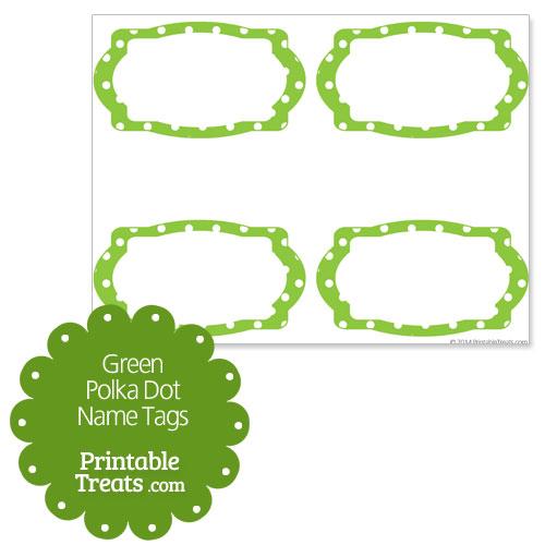 green polka dot name tags