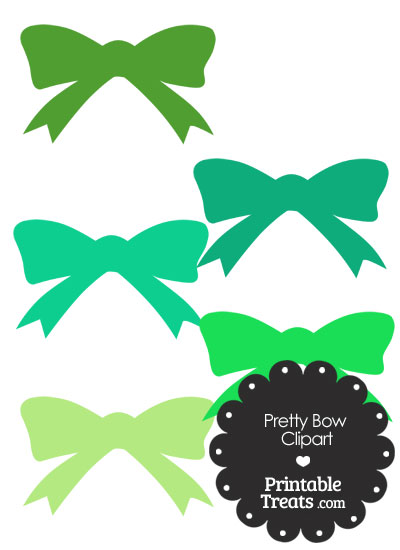 Green Pretty Bow Clipart from PrintableTreats.com