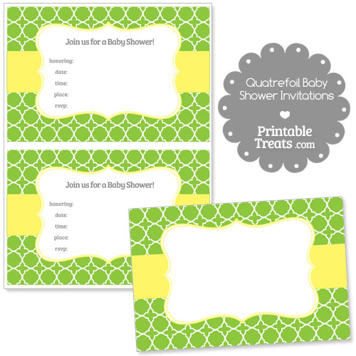 green quatrefoil baby shower invitation