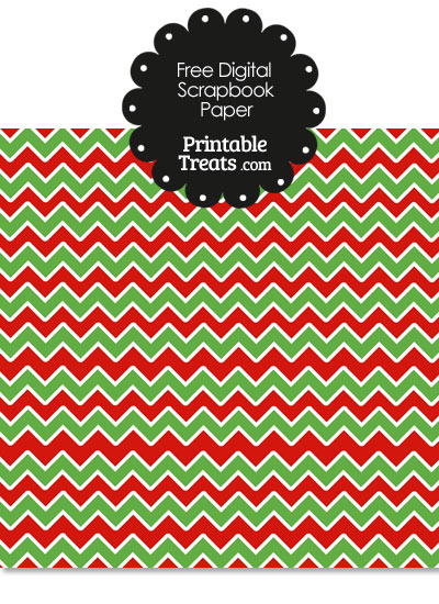 Green Red and White Chevron Digital Paper from PrintableTreats.com