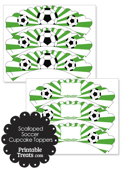 Green Scalloped Sunburst Soccer Cupcake Wrappers from PrintableTreats.com