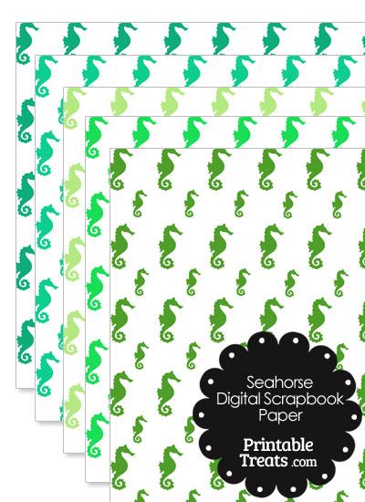 Green Seahorse Digital Scrapbook Paper from PrintableTreats.com