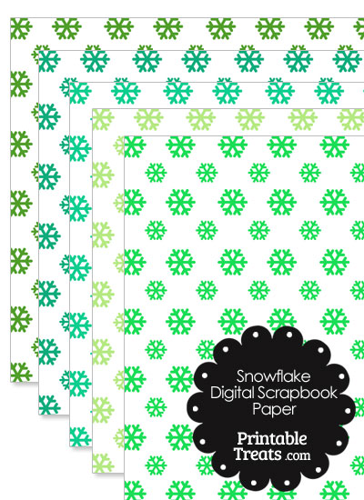 Green Snowflake Digital Scrapbook Paper from PrintableTreats.com