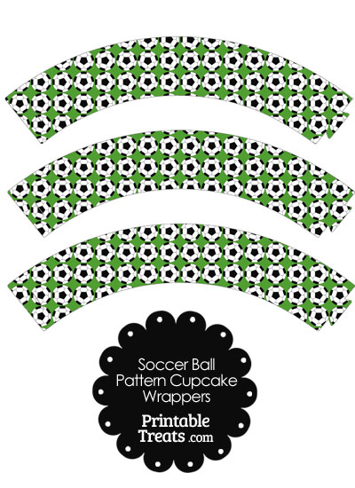 Green Soccer Ball Pattern Cupcake Wrappers from PrintableTreats.com