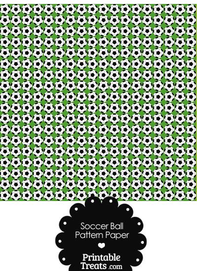 Green Soccer Ball Pattern Digital Scrapbook Paper from PrintableTreats.com